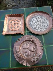 Trio of Arts & Crafts small copper trays