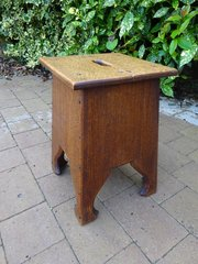 Unusual Arts & Crafts oak Moorish table or stool