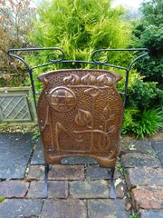 Unusual Arts & Crafts copper fire screen