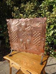 Unusual Arts & Crafts copper fire screen