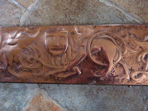 Unusual Arts & Crafts copper panel  Irish?