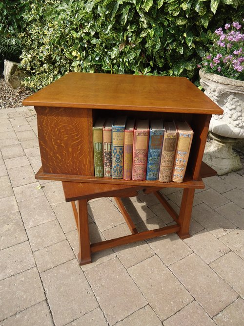 Unusual Low Arts & Crafts revolving book table