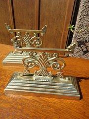 Unusual Pair of Arts & Crafts Brass Andirons