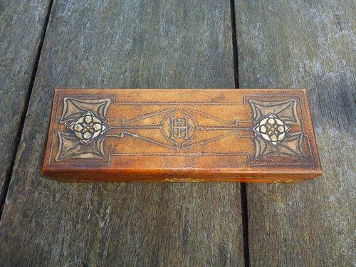 Unusual Stencilled Arts & Crafts Glove Box