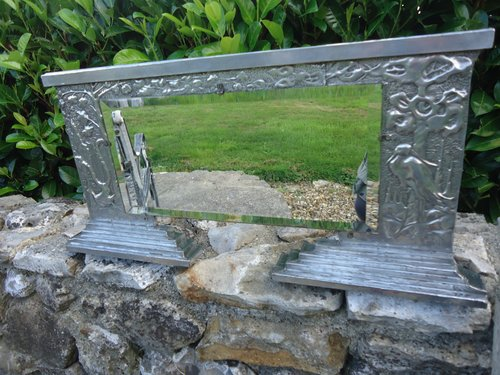 Unusual  Art Deco pewter overmantle