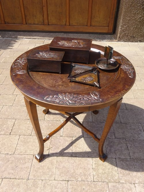 Unusual smokers tray table with original items