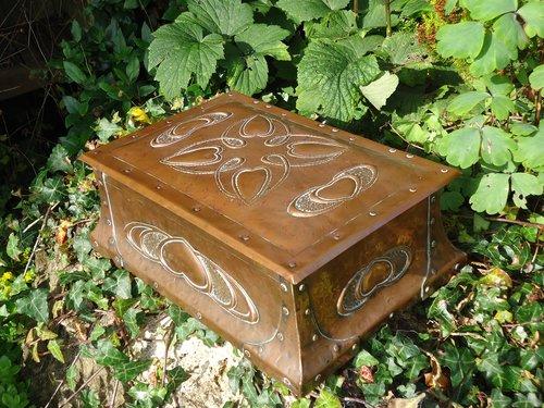 Unusually large copper games box. Cornish