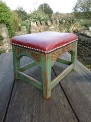 Unusual Arts & Crafts  stool with leather seat
