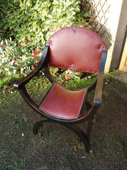 Very Stylish ebonised X framed chair