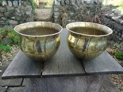 Very large pair of Arts & Crafts Brass planters