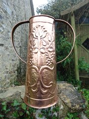 Very tall Arts & Crafts 2 handled copper vase