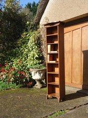 Very tall & Slim seven shelf oak bookcase