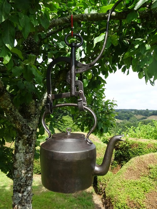 Victorian cast iron kettle and pouring jack