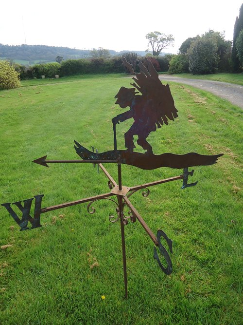 Rare copper and iron Wood Cutter weather vane