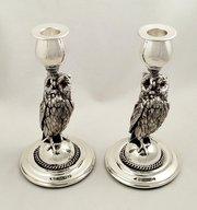 Pr Vintage Silver Plated 8 Owl