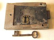 Large antique key and oak case