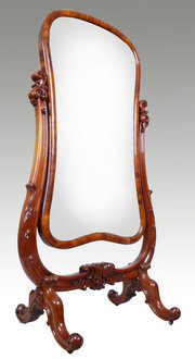 Mahogany cheval mirror