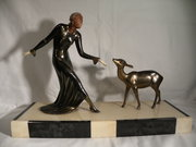 Art Deco figure mounted on a m