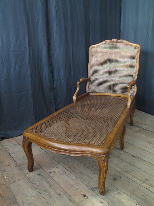 French walnut bergere chaise longue circa 1780 antiques for Antique chaise longue for sale