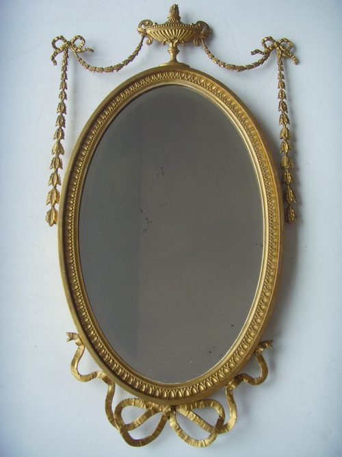 Antiques atlas adam style oval gilt mirror with urn surmount for Adam style mirror