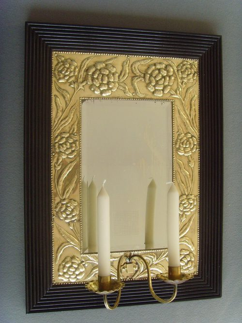 Antiques atlas arts crafts brass wood mirror with for Arts and crafts candle sconces