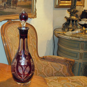 Cranberry Cut Glass Decanter
