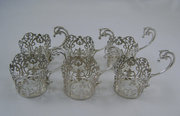 Set of Six Silver Cup Holders