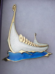 Silver and enamel brooch by Al