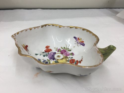 Antique Continental Porcelain Leaf Dish