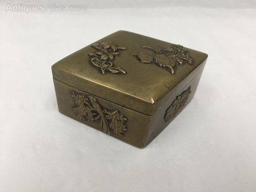 Antique Oriental Chinese Metal Snuff Box