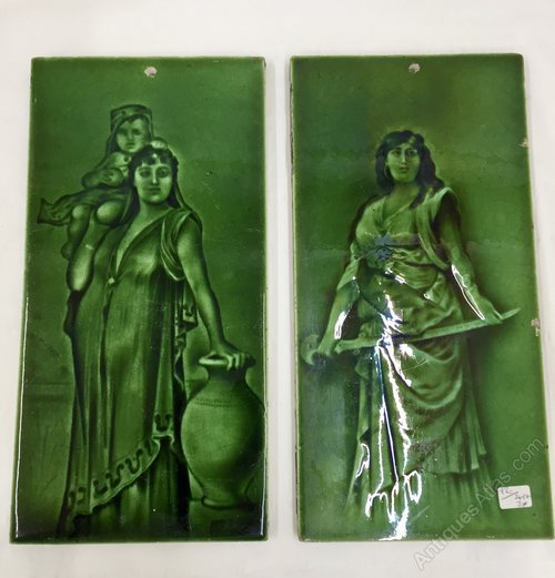 Pair Antique Art Nouveau Ceramic Tiles