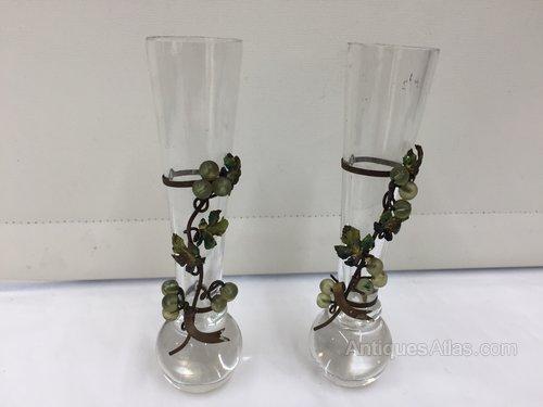 Pr Antique Glass Speciman Vases circa 1890