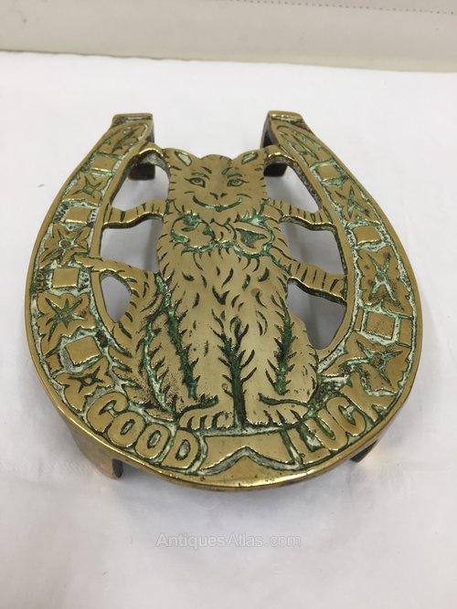 Victorian Brass Novelty Cat Trivet circa 1890