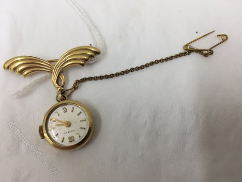 Vintage Costume Jewellery Brooch , Fob Watch