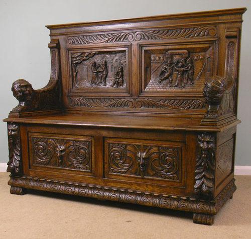 Victorian Oak Hall Seat, Monks Bench, Settle - Antiques Atlas