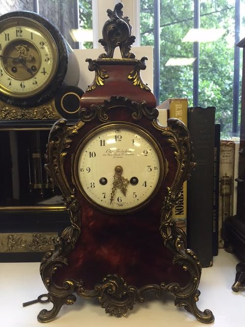 19thC French Tortoise Shell Chiming Mantel clock