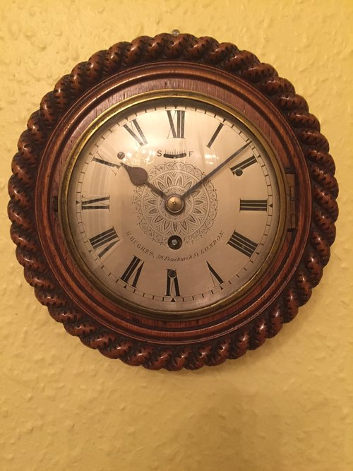 C1890 small London Antique Wall clock by H Hughes