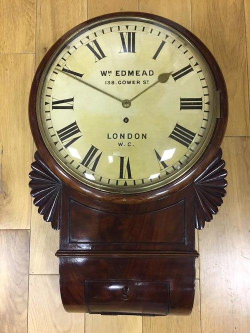 C 1860 Mahogany drop Dial Fusee wall clock