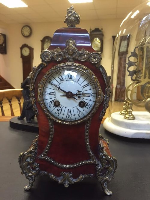 Late 19th C French Tortoise shell mantel clock