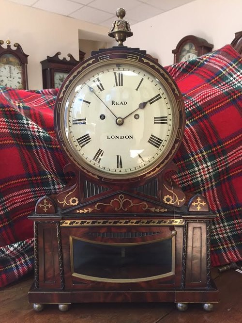 Mahogany and brass inlay Fusee Table Clock c1810