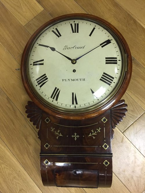 Regency Mahogany drop Dial Fusee Wall clock