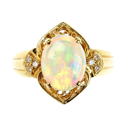 Antiques Atlas Opal And Diamond Ring