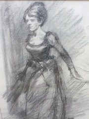 Charcoal study of a girl Artis