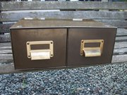 vintage 2 drawer metal filing