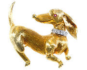 Dachshund Dog Brooch