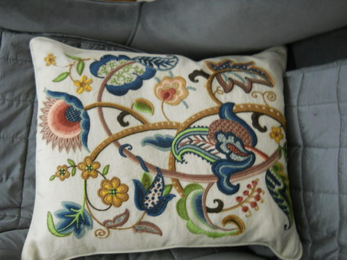 Embriodered Crewelwork Cushion
