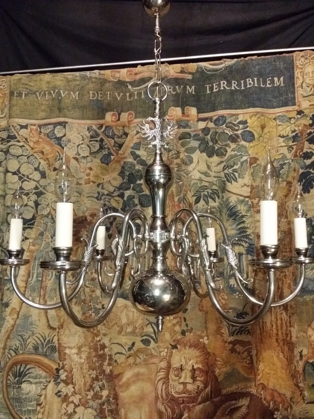 Silver plated chandeliers flemish chandeliers this is a quality nickle plated six light flemish chandelier the silver plating is in excellent condition and the chandelier has been rewired with new bulb arubaitofo Gallery