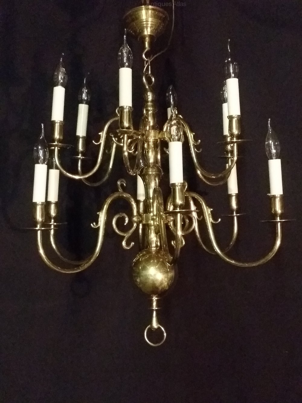 Two tier chandeliers flemish chandeliers this is a very goog quality 2 tier 12 light brass flemish chandelier it is in excellent condition having been sympathically repolished by hand rewired arubaitofo Gallery