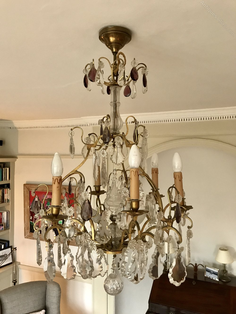 This is a excellent quality antique french chandelier. The frame retains  its original gilding and holds the original good quality crystal drops. - French Chandeliers - Flemish Chandeliers