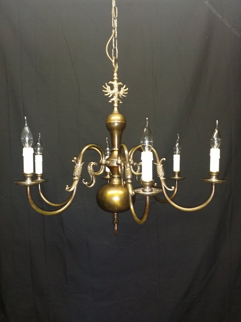 Brass flemish chandeliers flemish chandeliers this is a good quailty six light flemish chandelier this chanderlier has aged well over the years and now has a good bronze colour and patina to it with arubaitofo Gallery